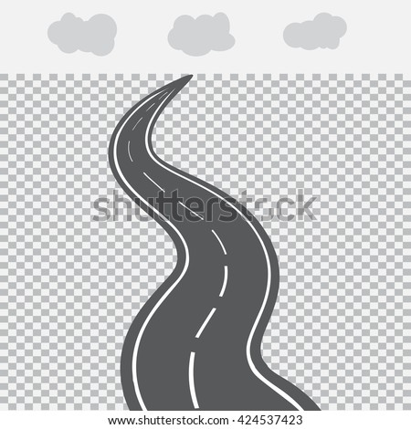 Receding into the distance the road with white markings. Vector illustration - stock vector