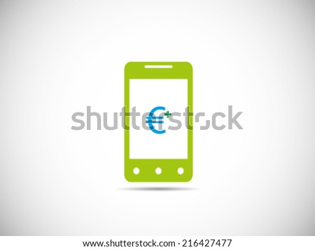 Receive Euro on Smart Phone - stock vector