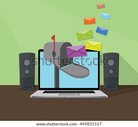 receiving email with laptop and inbox sign with envelope flying to box vector graphic illustration - stock vector