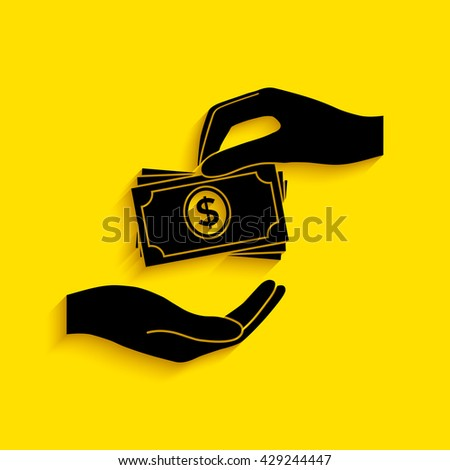 Receiving money banknotes stack icon. Cash stacks money banknotes. - stock vector