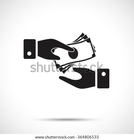 Receiving Money Icon. Two vector hands, giving money. Giving a money symbol from one hand to another. - stock vector