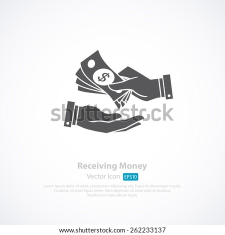Receiving Money Icon. Vector Illustration - stock vector