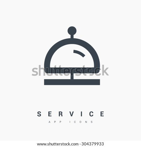 Reception bell icon. Hotel service sign. Linear outline icon on white background. Line vector icon for websites and apps mobile minimalistic flat design - stock vector