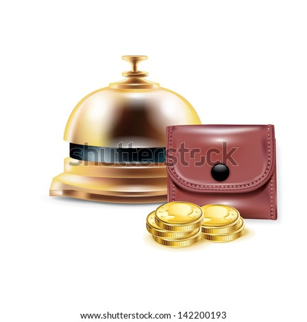 reception bell with wallet and golden coins isolated - stock vector