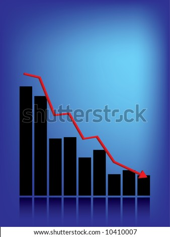 Recession bar graph and copy space - stock vector