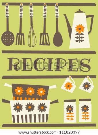Recipe card design in retro style. - stock vector