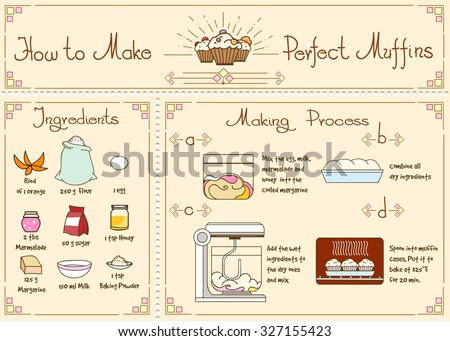 Recipe of cupcakes and muffins with ingredients. Hand drawn, food ingredient, rind of orange, flour,and honey, marmelad and sugar, vector illustration - stock vector