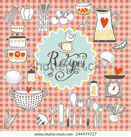 Recipes concept card. Vintage kitchen set in vector. Stylish design elements: pepper-box, fork, spoon, bowl, pan, scales, colander, knife and others - stock vector