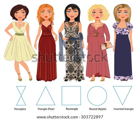 Recommended styles of evening dresses for 5 types of female figures: hourglass, triangle, rectangle, round and inverted triangle, vector hand drawn illustration - stock vector