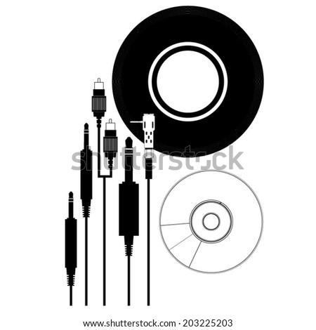 Record, CD, Cartridge, audio jacks, RCA, Audio elements in Vector - stock vector
