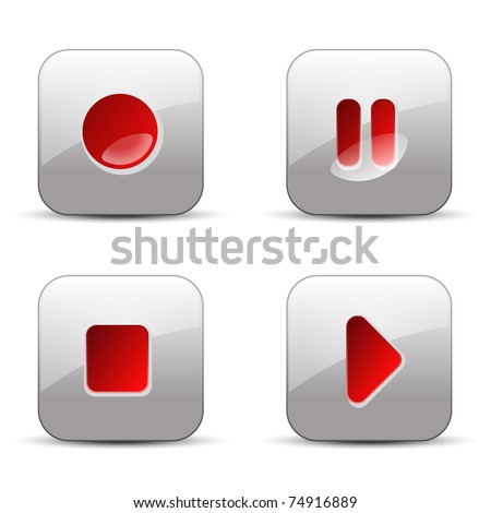 record, pause, stop and play vector illustration buttons - stock vector