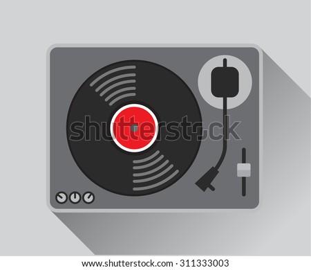 Record player, vector illustration - stock vector