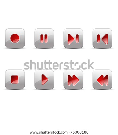 record, stop, pause, play, next, skip, back, previous, forward media buttons vector illustration - stock vector