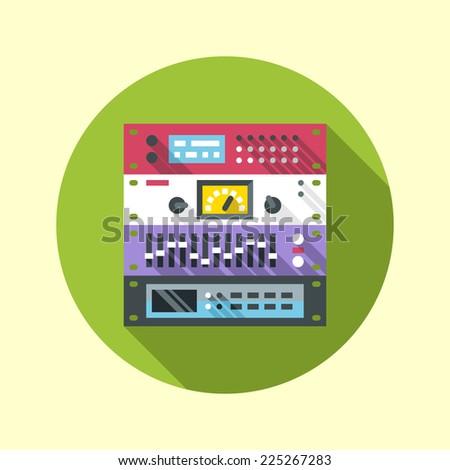 Recording studio rack hardware icon. Flat design long shadow. Vector illustration. - stock vector