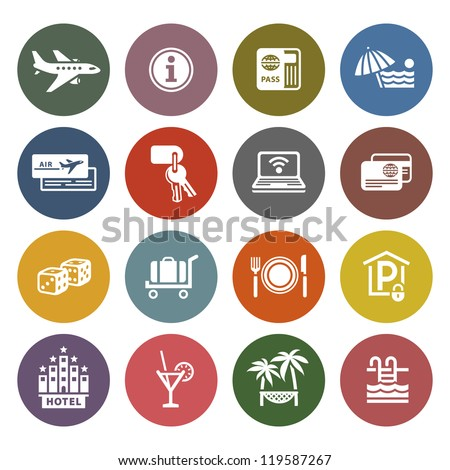 Recreation, Travel & Vacation, icons set - Retro color version - stock vector