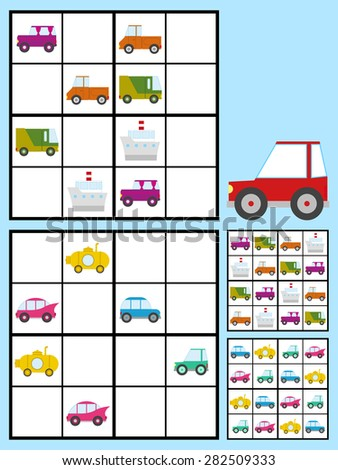 Recreational game for kids with a sudoku puzzle with colorful cars automobiles to fill the grid in two variations with answers, vector design - stock vector