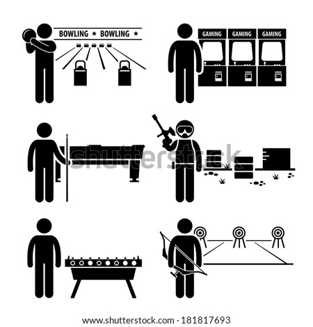 Recreational Leisure Games - Bowling, Arcade Center, Pool, Paintball, Soccer Table, Archery - Stick Figure Pictogram Icon Clipart - stock vector