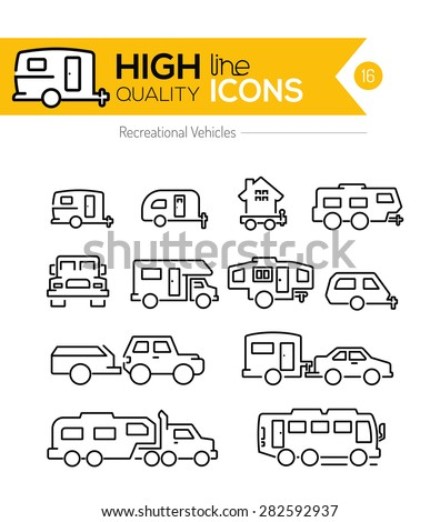 Recreational Vehicles line icons - stock vector