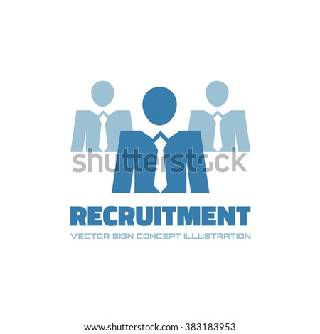 Recruitment agency - vector logo template. Businessman icon. People concept illustration. Business icon. Human character. Manager leadership man.  - stock vector