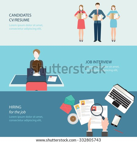 Recruitment flat banner set with job search,job interview, hired the job, conceptual vector illustration. - stock vector