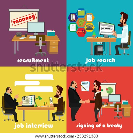 Recruitment flat icons set with job search, job interview and signing of a contract. vector illustration. - stock vector