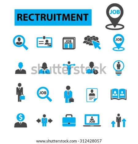 Recruitment icons concept. Hiring,  job,  human resources,  career,  interview,  employment, job. Vector illustration set - stock vector