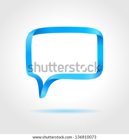 Rectangle blue speech bubble made from bended lines with copy space. Trendy origami style. - stock vector