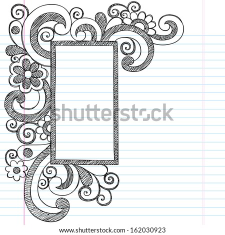 Rectangle Picture Frame Border Back to School Sketchy Notebook Doodles- Illustration Design Element on Lined Sketchbook Paper Background - stock vector