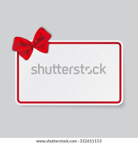Rectangle white card with tied bow on ribbon. - stock vector