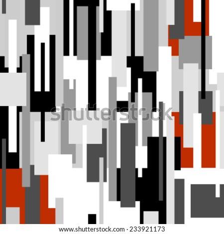 rectangles black, grey, red, white seamless pattern on white - stock vector