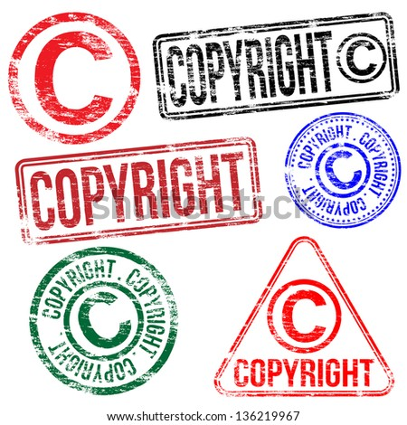 Rectangular and round copyright rubber stamp vectors  - stock vector
