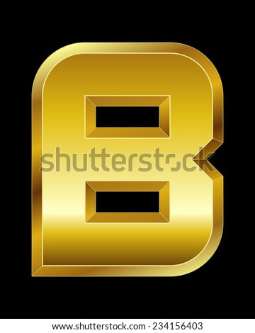 rectangular beveled golden font - letter B - stock vector