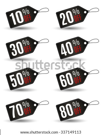 Rectangular Black Friday sales tag set with various percentage in black color wih white stitch at white background. Idea for seasonal sale promotion. vector illustration - stock vector