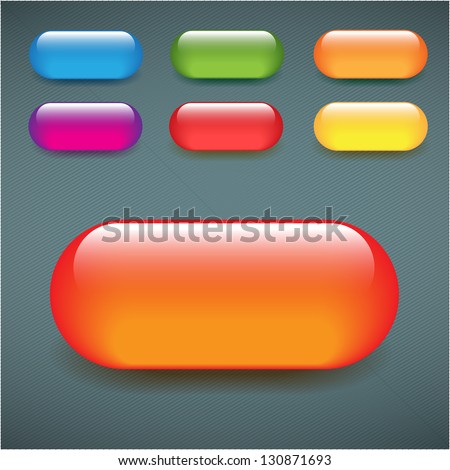 Rectangular blank web buttons shiny glass colorful set - stock vector