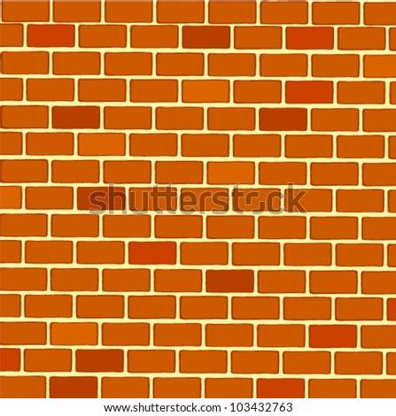 Rectangular Brick Wall - stock vector