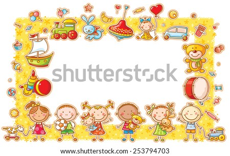 Rectangular frame with cartoon kids, toys and sweets, no gradients - stock vector