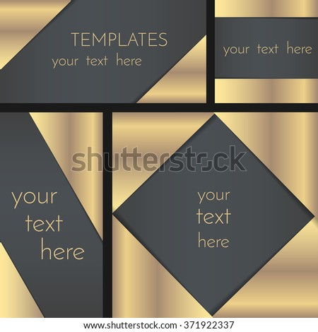 Rectangular greeting card template collection, invitation template, decorated with golden foil corners, have a space for text. EPS 10. - stock vector