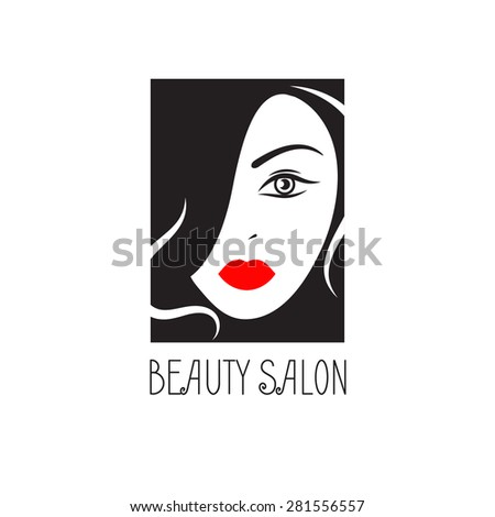 Rectangular logo for a beauty salon. Vector illustration.Fashion silhouette woman style - stock vector