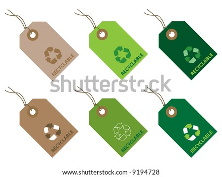 Recyclable tags - stock vector