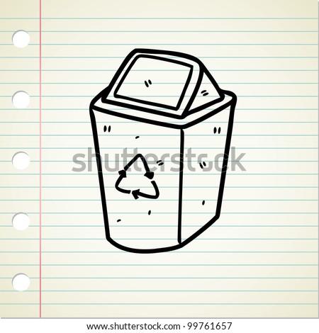 recycle bin doodle - stock vector