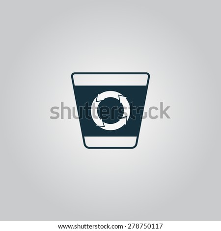 Recycle bin. Flat web icon or sign isolated on gray background. Collection modern trend concept design style vector illustration symbol - stock vector