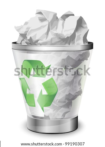 Recycle bin full of crumpled paper. Vector icon - stock vector