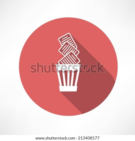 Recycle bin full of paper icon - stock vector