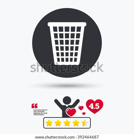 Recycle bin icon. Recycle bin flat symbol. Recycle bin art illustration. Recycle bin flat sign. Recycle bin graphic icon. Star vote ranking. Client or customer like. - stock vector