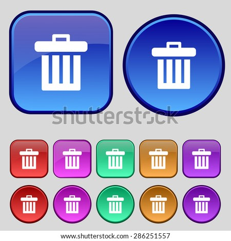 Recycle bin icon sign. A set of twelve vintage buttons for your design. Vector illustration - stock vector