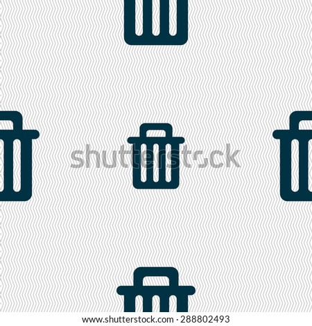 Recycle bin icon sign. Seamless pattern with geometric texture. Vector illustration - stock vector