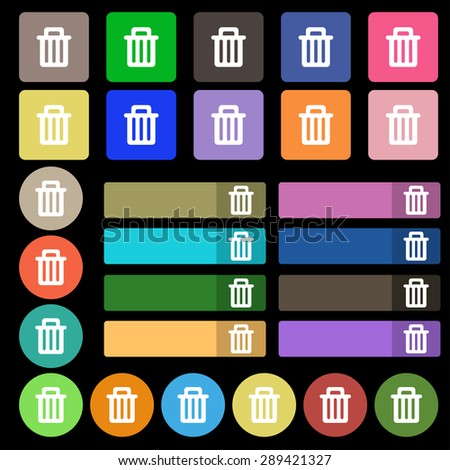 Recycle bin icon sign. Set from twenty seven multicolored flat buttons. Vector illustration - stock vector