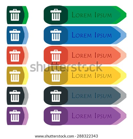Recycle bin icon sign. Set of colorful, bright long buttons with additional small modules. Flat design. Vector - stock vector