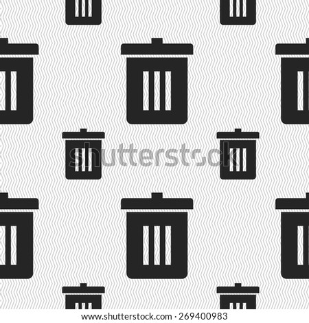 Recycle bin, Reuse or reduce icon sign. Seamless pattern with geometric texture. Vector illustration - stock vector
