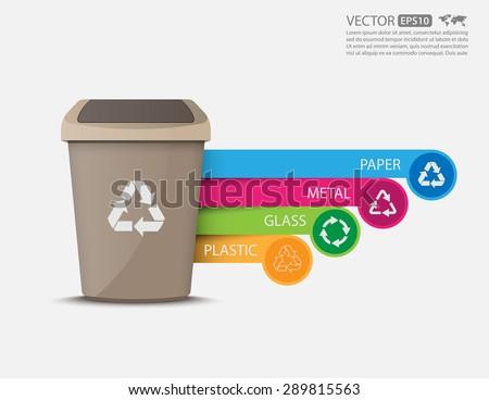 Recycle bins infographic.vector - stock vector